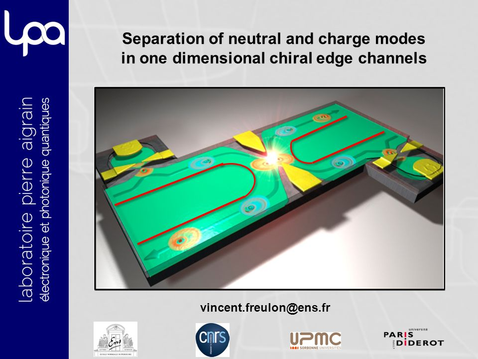 Separation of neutral and charge modes in one dimensional chiral edge channels vincent.freulon@ens.fr