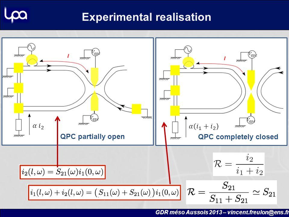 QPC completely closed QPC partially open Experimental realisation GDR méso Aussois 2013 – vincent.freulon@ens.fr