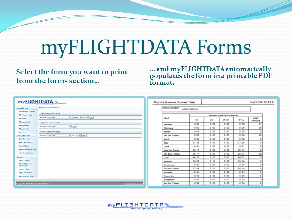 What does myFLIGHTDATA look like. Setup custom alerts and tasks.