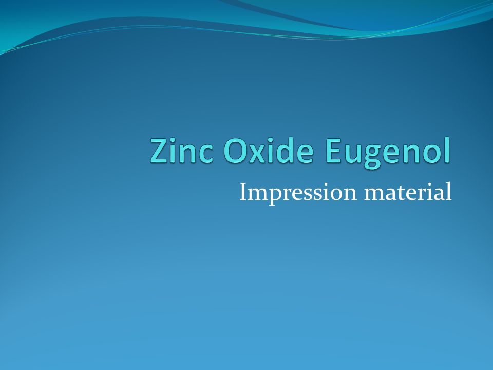 Zinc Oxide Eugenol This material is used for recording edentulous ridges in a close fitting special tray or the patients existing dentures.