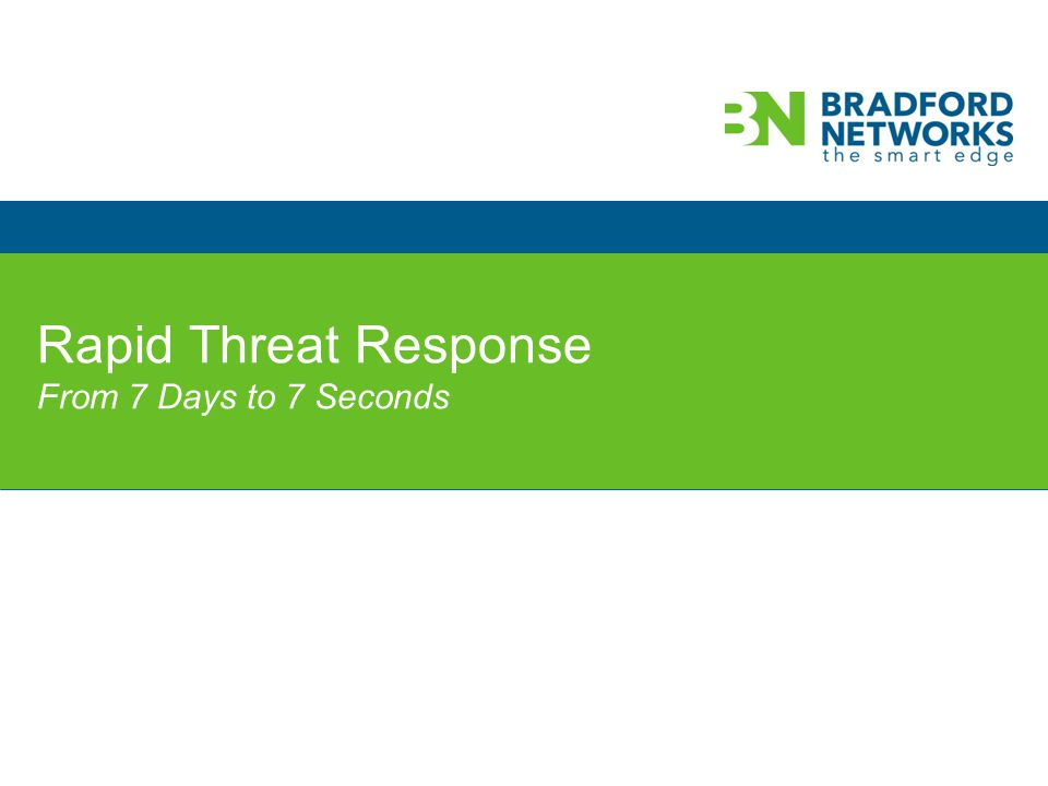 © 2013 Bradford Networks. All rights reserved. Rapid Threat Response From 7 Days to 7 Seconds