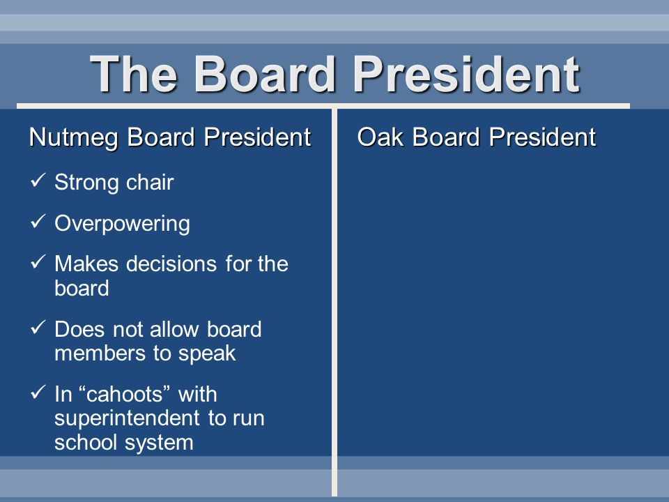 The Board President Nutmeg Board President Oak Board President Strong chair Overpowering Makes decisions for the board Does not allow board members to speak In cahoots with superintendent to run school system