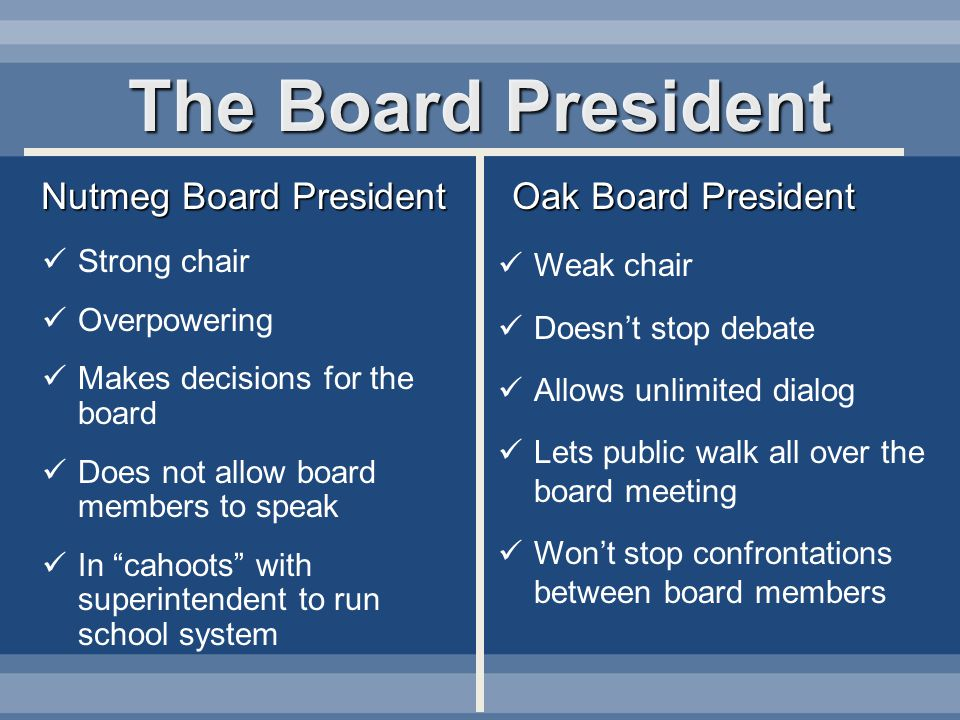 The Board President Nutmeg Board President Oak Board President Strong chair Overpowering Makes decisions for the board Does not allow board members to speak In cahoots with superintendent to run school system Weak chair Doesnt stop debate Allows unlimited dialog Lets public walk all over the board meeting Wont stop confrontations between board members