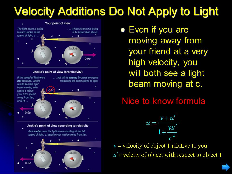 Addition of Velocities In normal circumstances, if you are moving and throw an object, an outside observer will see the object at a different velocity