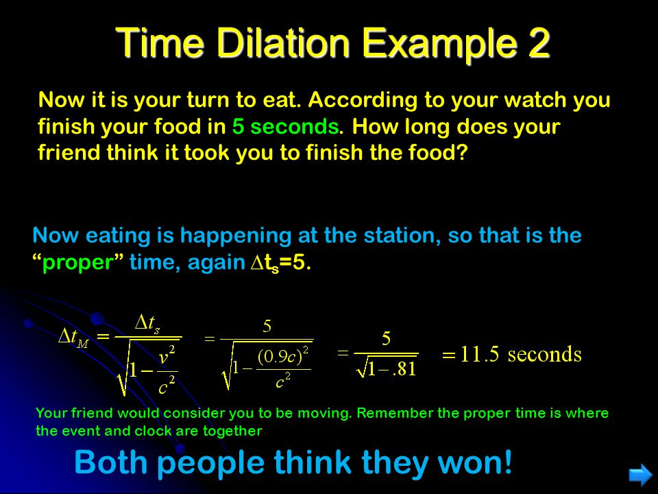 Time Dilation Example You and a friend are having a eating contest. Your friend is on a train traveling at speed v=0.9 c. By her watch, she finishes h