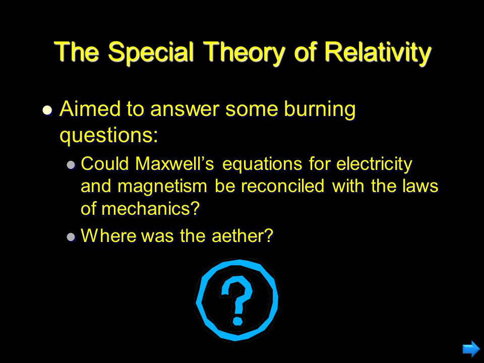 Theoretical Foundations of Relativity To explain all of these things, Einstein came up with new laws of physics based on two assumptions To explain all of these things, Einstein came up with new laws of physics based on two assumptions The laws of physics are the same in all inertial (non- accelerating) frames The laws of physics are the same in all inertial (non- accelerating) frames The speed of light is the same as measured by all observers in all inertial frames The speed of light is the same as measured by all observers in all inertial frames Einstein took these principles on faith Einstein took these principles on faith The principles and their implications have passed subsequent experimental testing The principles and their implications have passed subsequent experimental testing