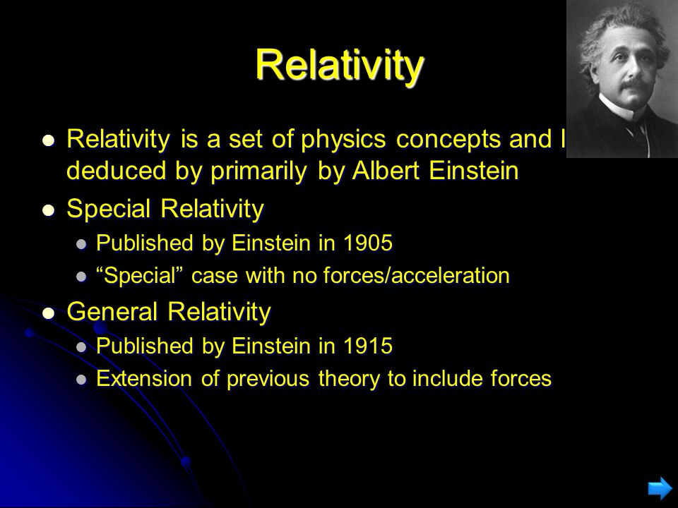 Relativity of Simultaneity Events which are simultaneous in one frame may not be in another.