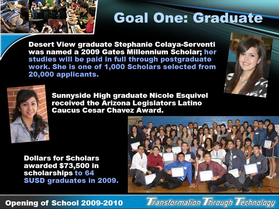 Opening of School 2009-2010 Goal One: Graduate Graduation begins in elementary school