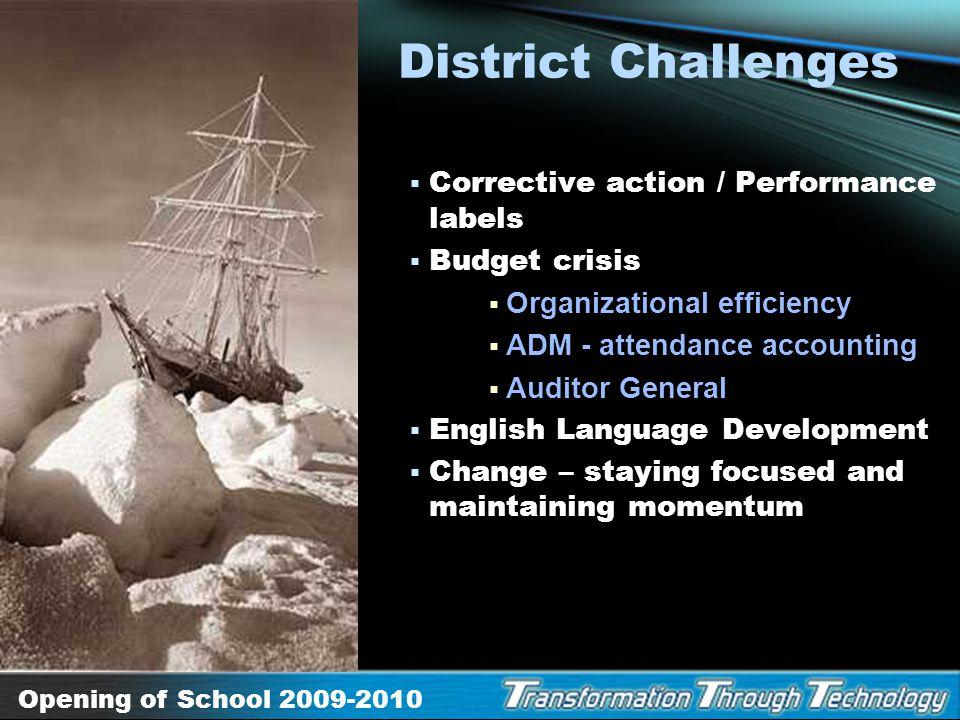 Opening of School 2009-2010 Blueprint for Student Achievement, SMART goals Project Graduation – The Digital Advantage Failure is NOT an Option HOPE, C