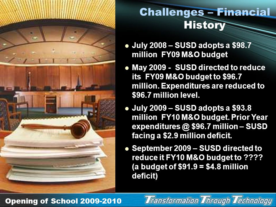 Opening of School 2009-2010 Challenges Financial National economic crisis State of Arizona is facing a $2 billion deficit that will have an impact on