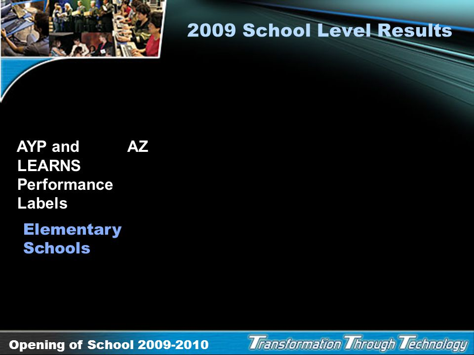 Opening of School 2009-2010 2009 School Level Results AYP and Arizona LEARNS Performance Labels Middle Schools