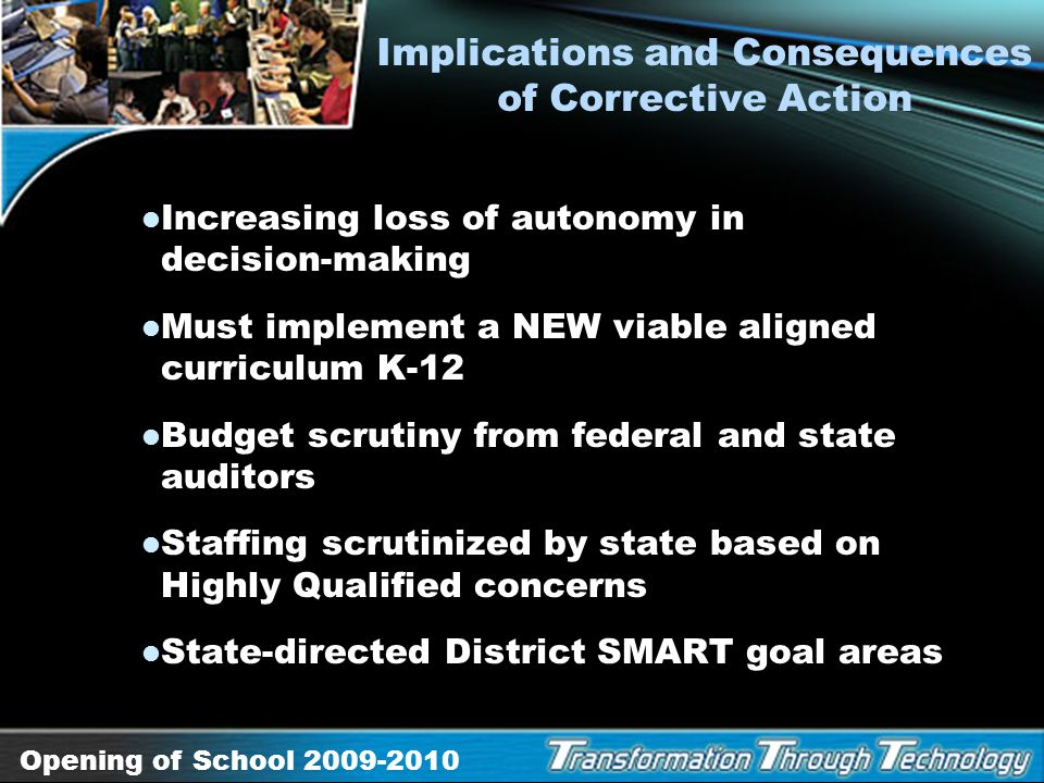 Opening of School 2009-2010 District Performance Challenges Inconsistent system to increase English Language Learner academic proficiency Inconsistent