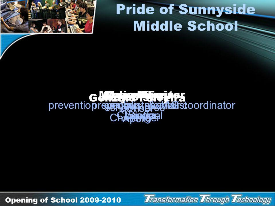Opening of School 2009-2010 Star Teachers Elementary Karen Johnson speech language pathologist Early Childhood Education Stephanie Ponce 5th grade Cra