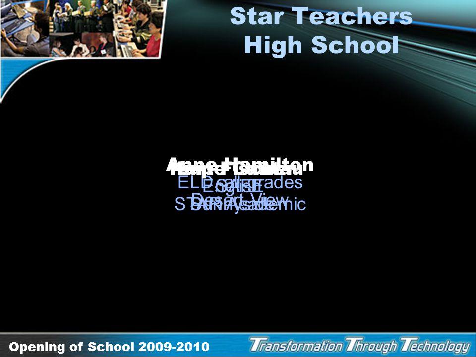 Opening of School 2009-2010 Pride of Sunnyside High School Olga Lozano attendance clerk Desert View Brent Stahnke head custodian STAR Academic Mary Ma