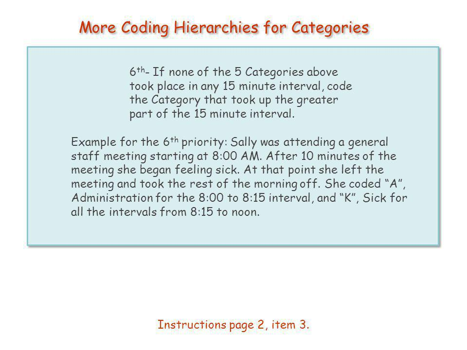 More Coding Hierarchies for Categories 6 th - If none of the 5 Categories above took place in any 15 minute interval, code the Category that took up t