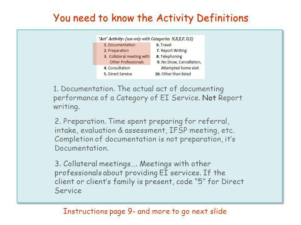 You need to know the Activity Definitions 1. Documentation. The actual act of documenting performance of a Category of EI Service. Not Report writing.