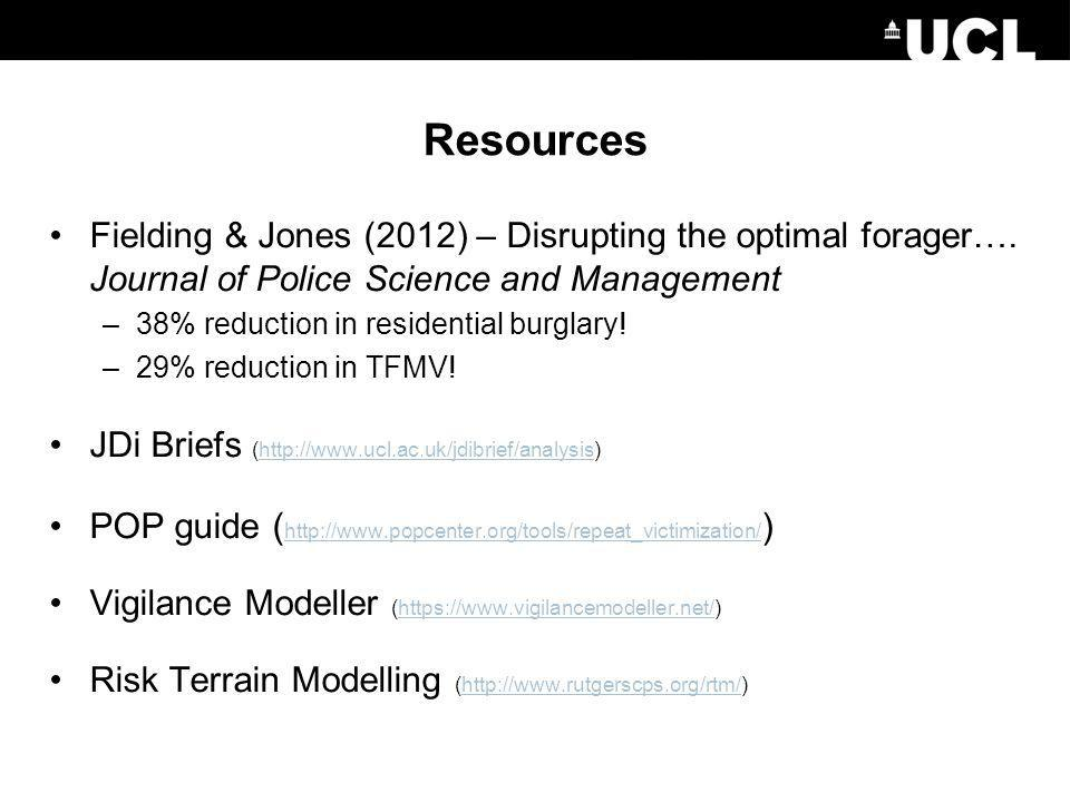 Resources Fielding & Jones (2012) – Disrupting the optimal forager….