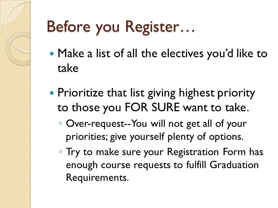 Before you Register… Make a list of all the electives youd like to take Prioritize that list giving highest priority to those you FOR SURE want to take.