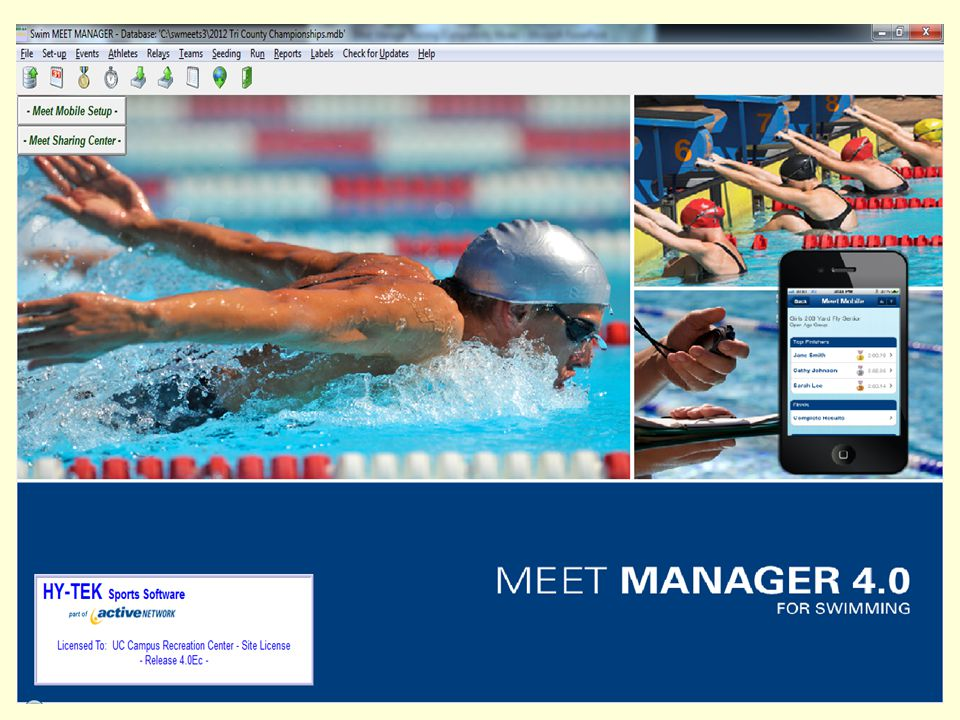 Step 1: Set up your meet Download the meet template Restore the template Purge Old Data Setup Meet Information, Save as new meet Setup Scoring, Seeding, Events and Sessions