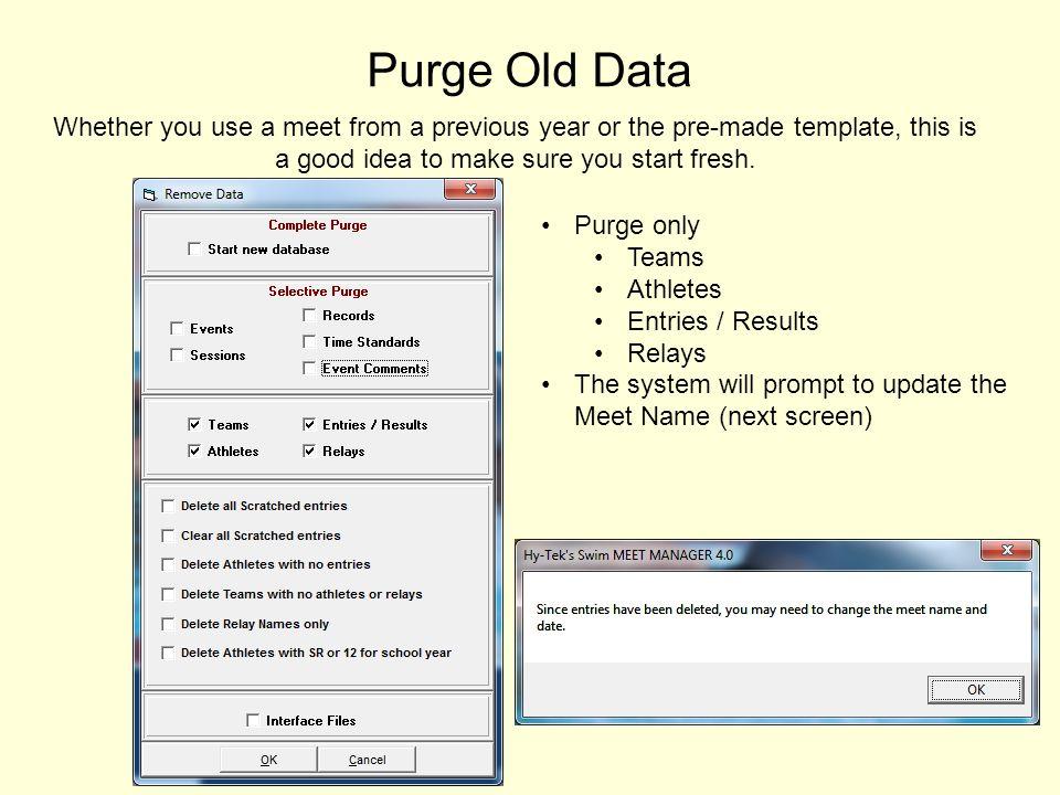 New Meet Information Standard Dual Meet should look like below
