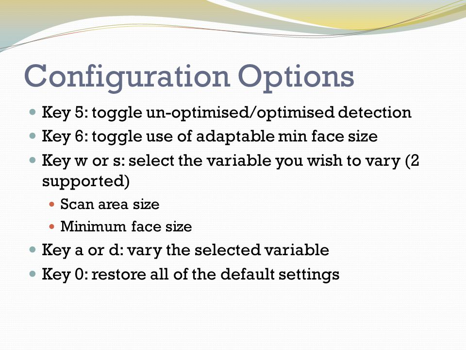 Configuration Options Key 5: toggle un-optimised/optimised detection Key 6: toggle use of adaptable min face size Key w or s: select the variable you wish to vary (2 supported) Scan area size Minimum face size Key a or d: vary the selected variable Key 0: restore all of the default settings