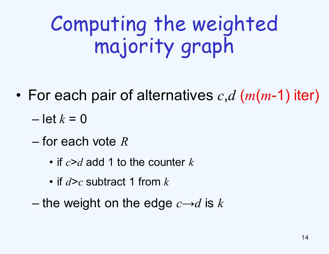 For each pair of alternatives c, d ( m ( m -1) iter) –let k = 0 –for each vote R if c > d add 1 to the counter k if d > c subtract 1 from k –the weight on the edge c d is k 14 Computing the weighted majority graph