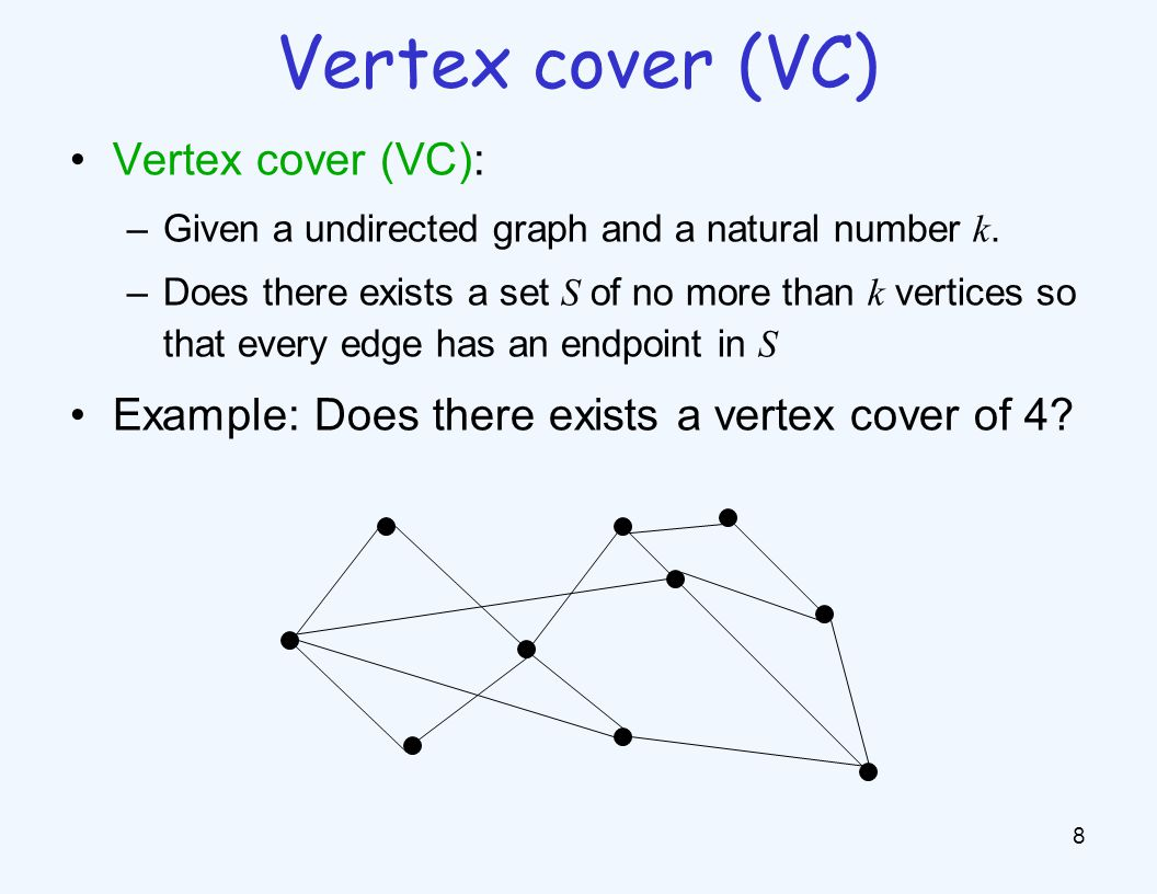 Vertex cover (VC): –Given a undirected graph and a natural number k. –Does there exists a set S of no more than k vertices so that every edge has an e