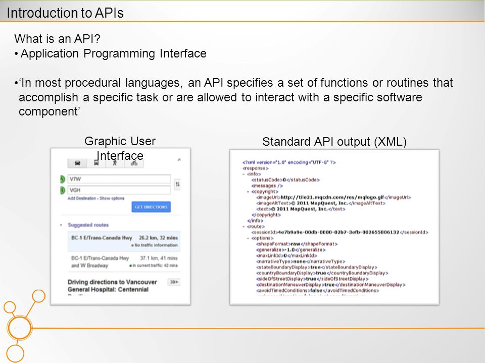 What is an API? Application Programming Interface In most procedural languages, an API specifies a set of functions or routines that accomplish a spec
