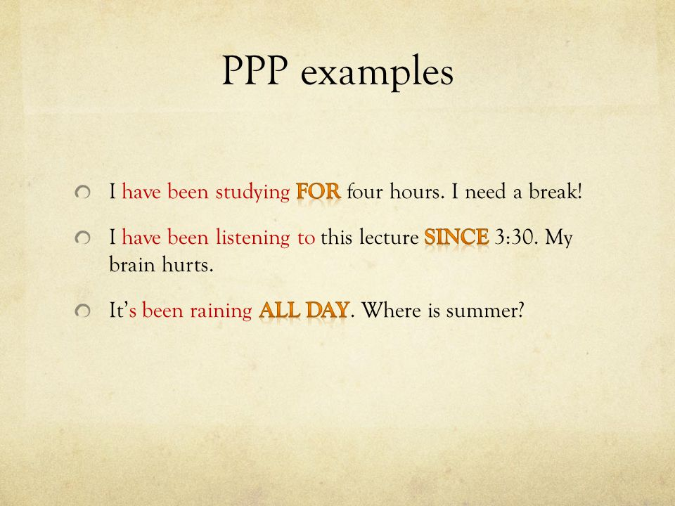 PPP examples