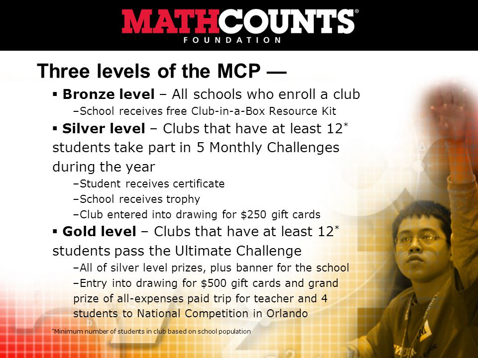Three levels of the MCP Bronze level – All schools who enroll a club –School receives free Club-in-a-Box Resource Kit Silver level – Clubs that have at least 12 * students take part in 5 Monthly Challenges during the year –Student receives certificate –School receives trophy –Club entered into drawing for $250 gift cards Gold level – Clubs that have at least 12 * students pass the Ultimate Challenge –All of silver level prizes, plus banner for the school –Entry into drawing for $500 gift cards and grand prize of all-expenses paid trip for teacher and 4 students to National Competition in Orlando * Minimum number of students in club based on school population