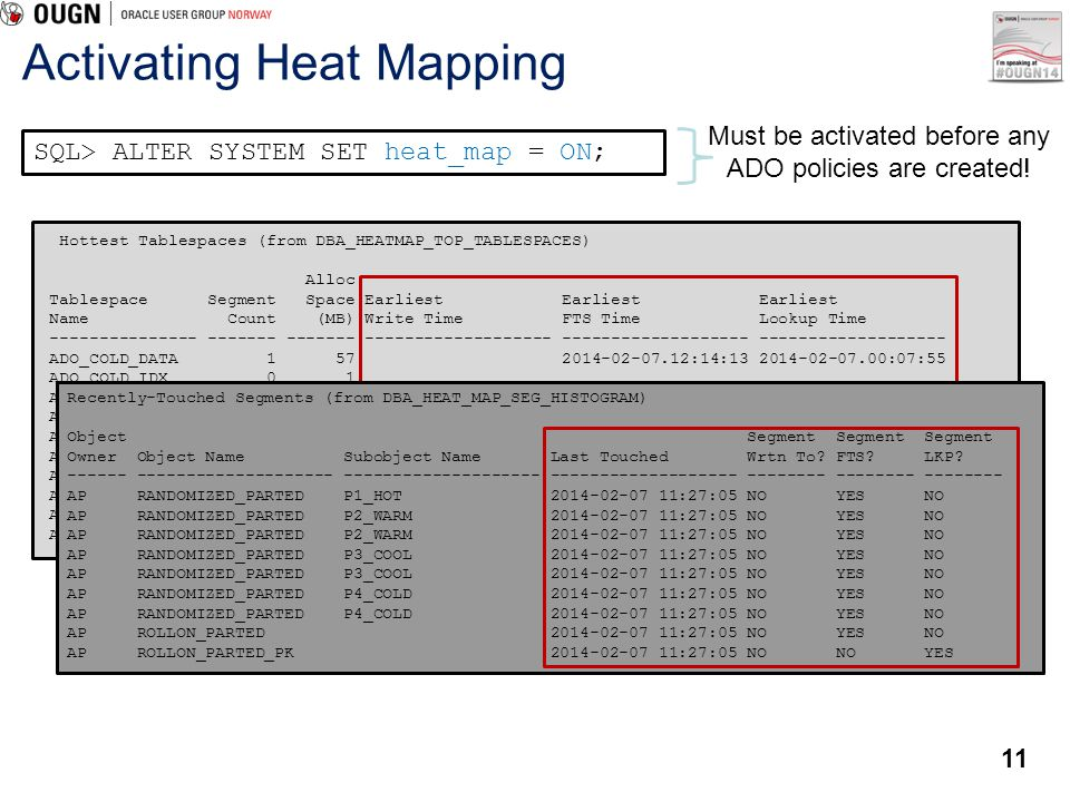 11 Activating Heat Mapping SQL> ALTER SYSTEM SET heat_map = ON; Must be activated before any ADO policies are created! Hottest Tablespaces (from DBA_H