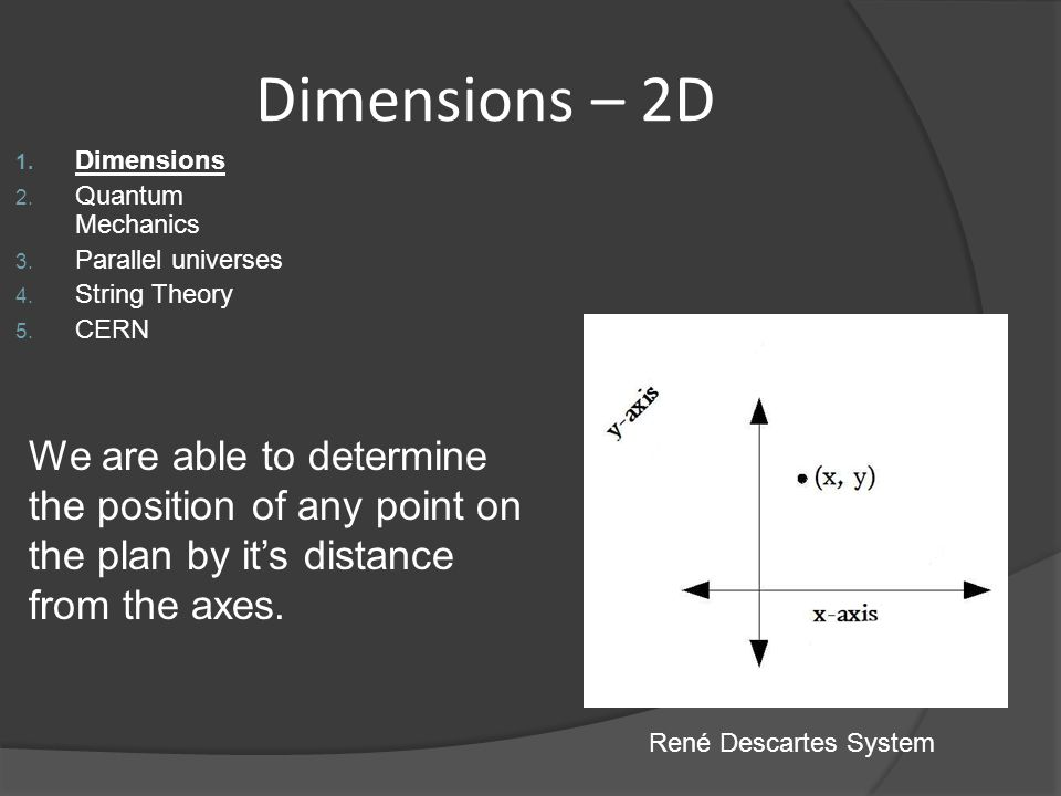 Dimensions – 2D 1. Dimensions 2. Quantum Mechanics 3. Parallel universes 4. String Theory 5. CERN René Descartes System We are able to determine the p
