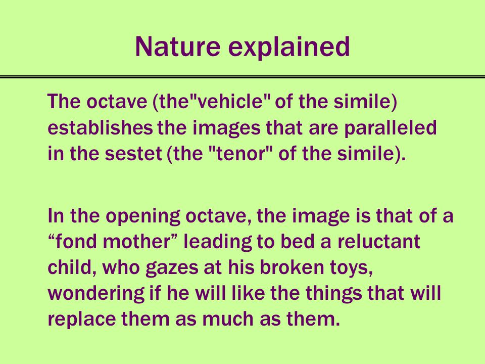 Nature explained The octave (the