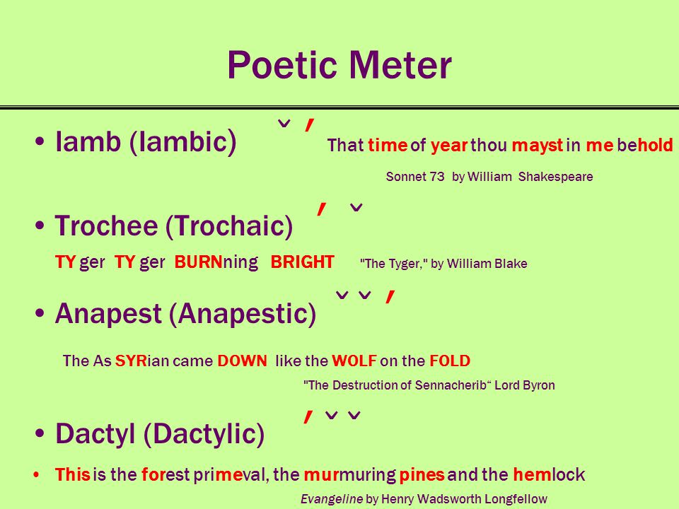 Poetic Meter Iamb (Iambic ) ̌ ʹ That time of year thou mayst in me behold Sonnet 73 by William Shakespeare Trochee (Trochaic) ʹ ̌ TY ger TY ger BURNni