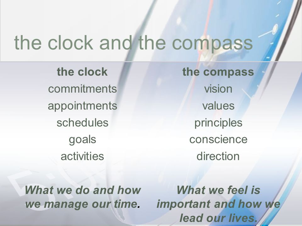 time the clock and the compass the clock commitments appointments schedules goals activities What we do and how we manage our time. the compass vision