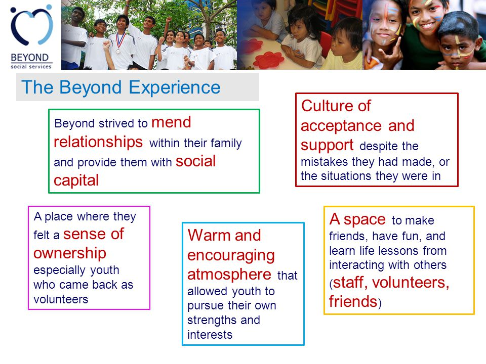 The Beyond Experience Beyond strived to mend relationships within their family and provide them with social capital Culture of acceptance and support