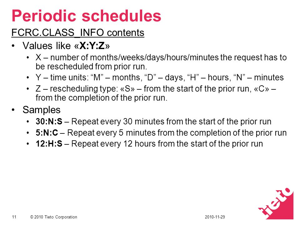 © 2010 Tieto Corporation Periodic schedules FCRC.CLASS_INFO contents Values like «X:Y:Z» X – number of months/weeks/days/hours/minutes the request has