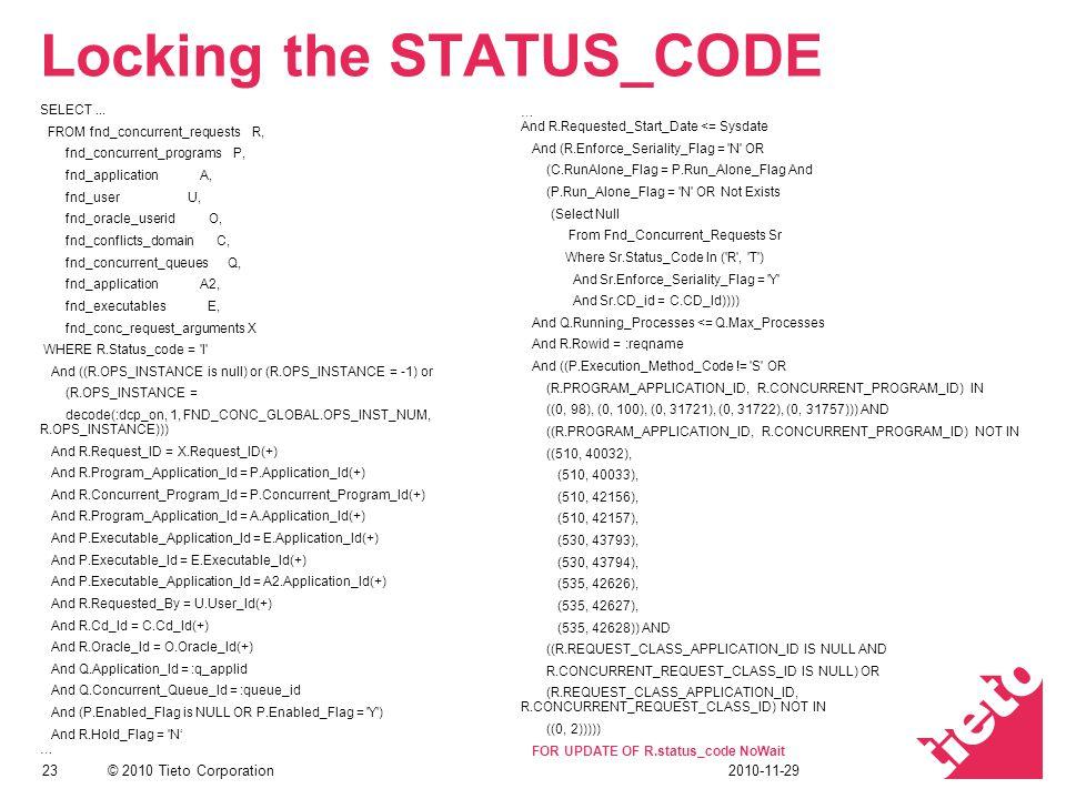 © 2010 Tieto Corporation Locking the STATUS_CODE SELECT...