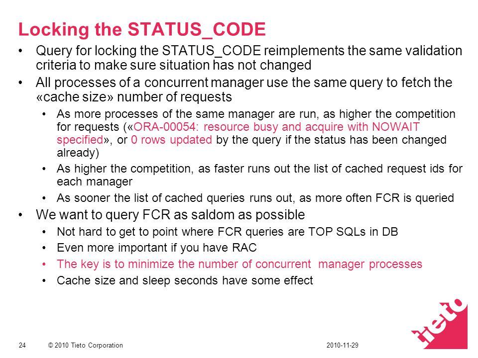 © 2010 Tieto Corporation Locking the STATUS_CODE Query for locking the STATUS_CODE reimplements the same validation criteria to make sure situation ha