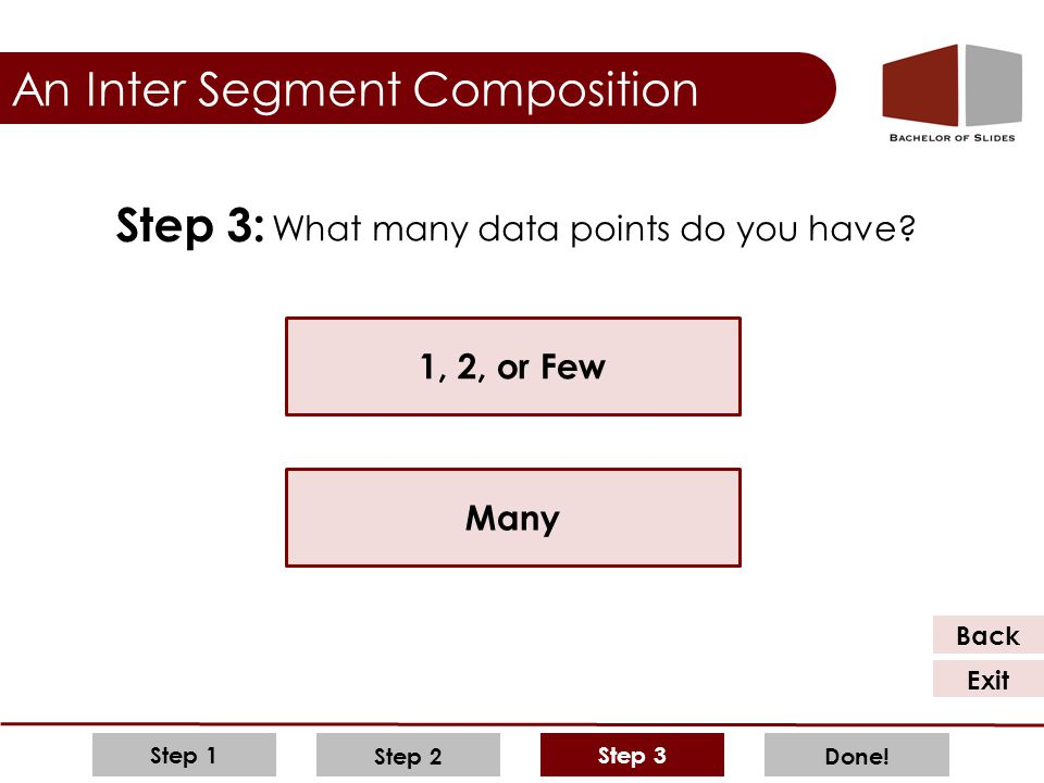 Step 3 Step 2 Step 1 Done! An Inter Segment Composition What many data points do you have? Step 3: 1, 2, or Few Many Back Exit