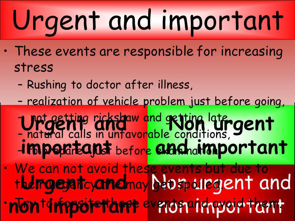 Evaluation of events Non urgent and non important Urgent and non important Non urgent and important Urgent and important These events are responsible for increasing stress –R–Rushing to doctor after illness, –r–realization of vehicle problem just before going, – not getting rickshaw and getting late, –n–natural calls in unfavorable conditions, –t–to prepare just before examination We can not avoid these events but due to their urgency the may get spoiled.