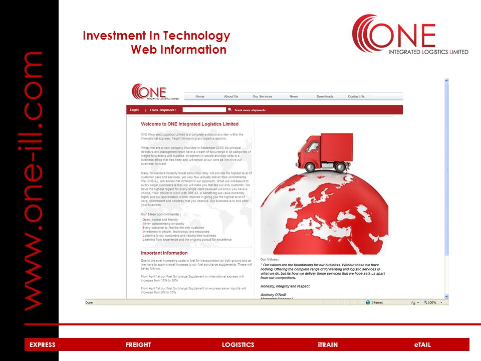 www.one-ill.com Investment In Technology Web Information EXPRESSFREIGHTLOGISTICSiTRAIN eTAIL