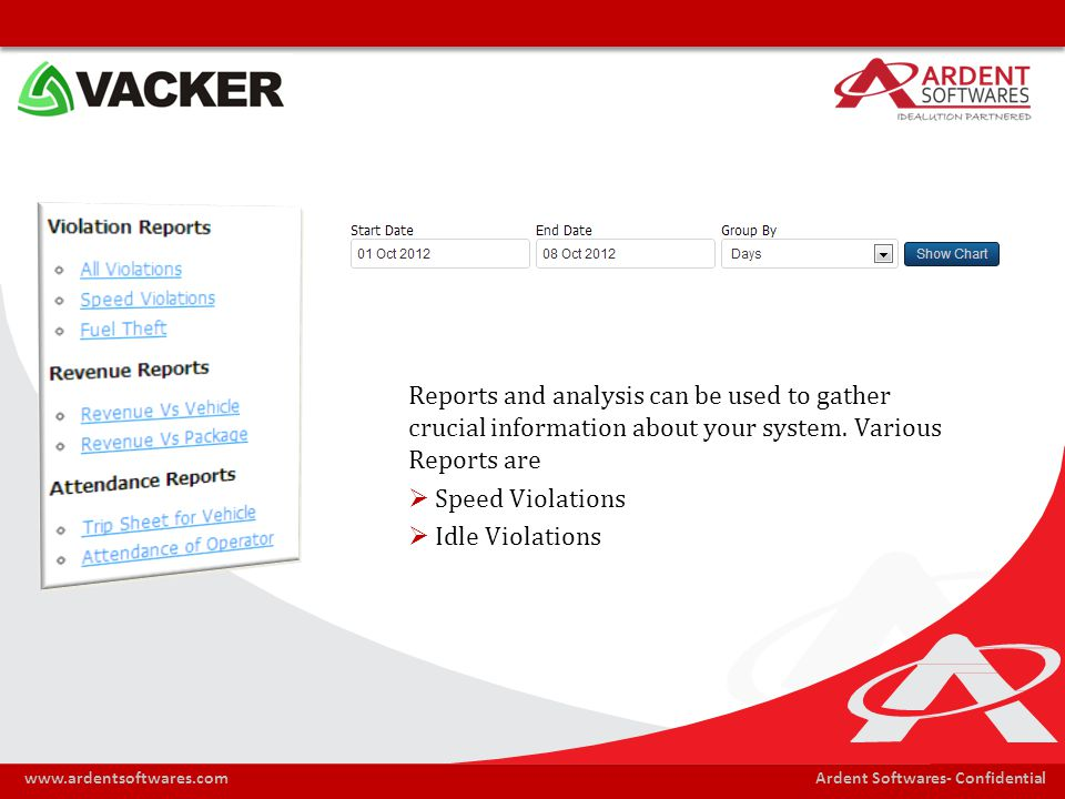 Ardent Softwares- Confidentialwww.ardentsoftwares.com Reports and analysis can be used to gather crucial information about your system. Various Report