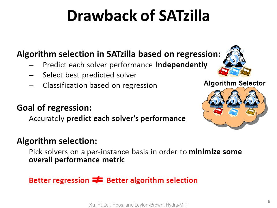 6 Drawback of SATzilla Algorithm selection in SATzilla based on regression: – Predict each solver performance independently – Select best predicted solver – Classification based on regression Goal of regression: Accurately predict each solvers performance Algorithm selection: Pick solvers on a per-instance basis in order to minimize some overall performance metric Better regression Better algorithm selection Xu, Hutter, Hoos, and Leyton-Brown: Hydra-MIP Algorithm Selector