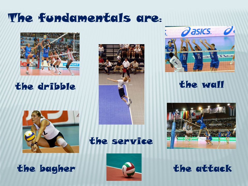 The fundamentals are : the dribble the bagher the wall the attack the service