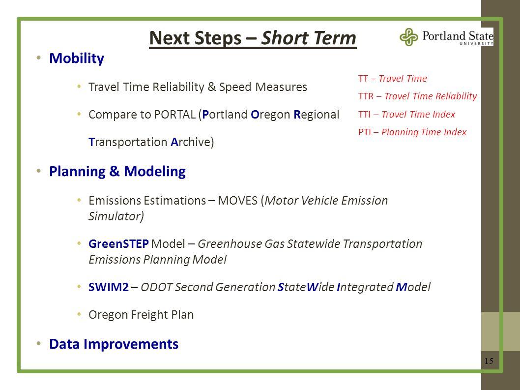 Next Steps – Short Term 15 Mobility Travel Time Reliability & Speed Measures Compare to PORTAL (Portland Oregon Regional Transportation Archive) Plann
