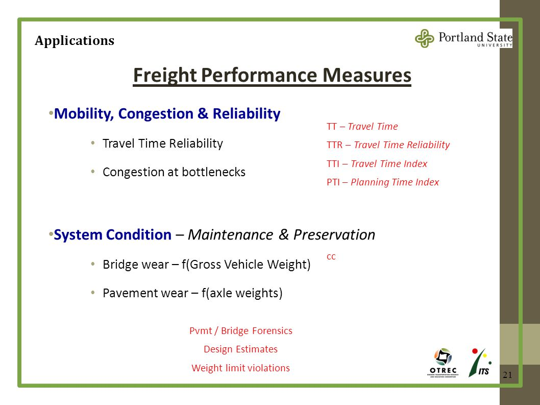 21 Freight Performance Measures Mobility, Congestion & Reliability Travel Time Reliability Congestion at bottlenecks System Condition – Maintenance &