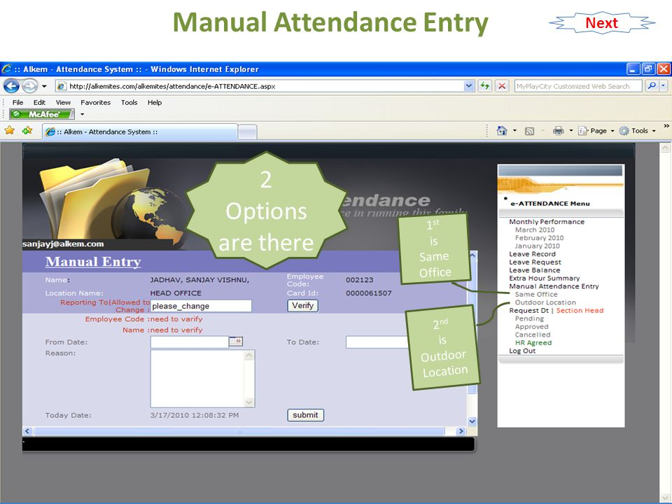 Manual Attendance Entry Click On Same Office Next