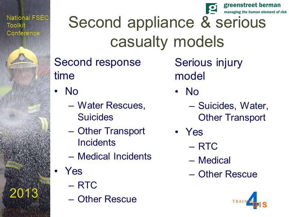National FSEC Toolkit Conference 2013 Second appliance & serious casualty models Second response time No –Water Rescues, Suicides –Other Transport Incidents –Medical Incidents Yes –RTC –Other Rescue Serious injury model No –Suicides, Water, Other Transport Yes –RTC –Medical –Other Rescue