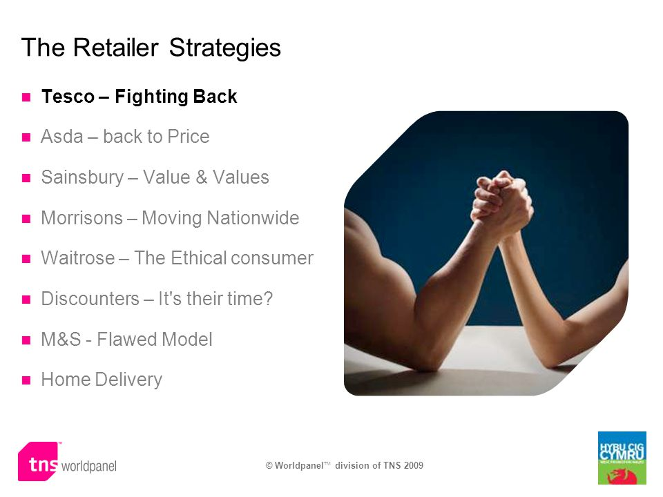 © Worldpanel TM division of TNS 2009 The Retailer Strategies Tesco – Fighting Back Asda – back to Price Sainsbury – Value & Values Morrisons – Moving